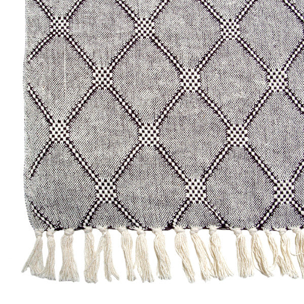 woven throw with diamonds pattern detail