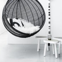 hk living hanging bowl chair black and wooden tree table white