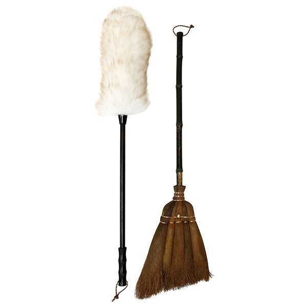 dusting set with broom vintage look cleaning