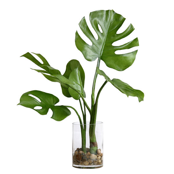 artificial monstera leaf in glass vase