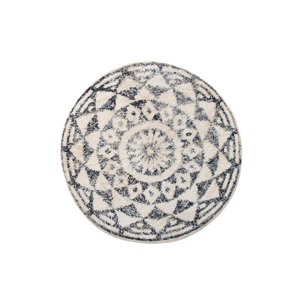 round bath mat medium size vintage look black and white