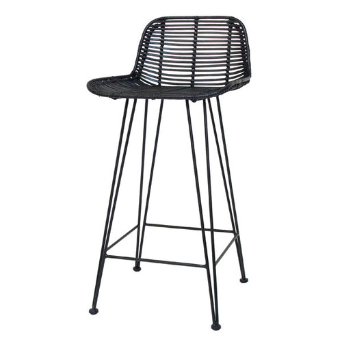 Astounding Rattan Bar Counter Stool Black Hk Living Usa Gmtry Best Dining Table And Chair Ideas Images Gmtryco