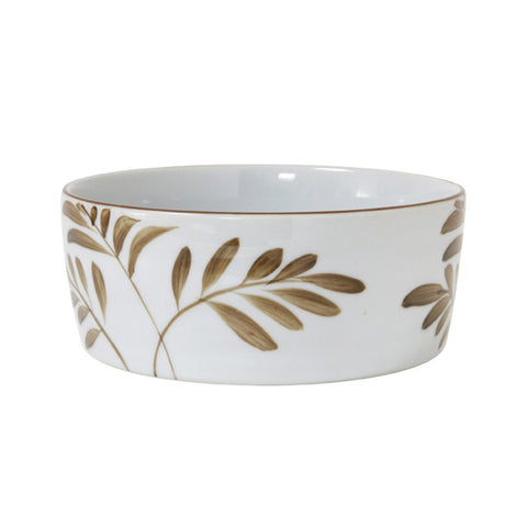 porcelain bowl with jungle leafs in brown gold