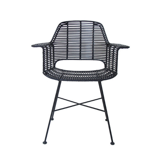 rattan tube chair with arm rests black
