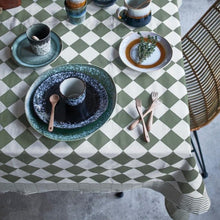 table cloth with retro Dutch checker style green