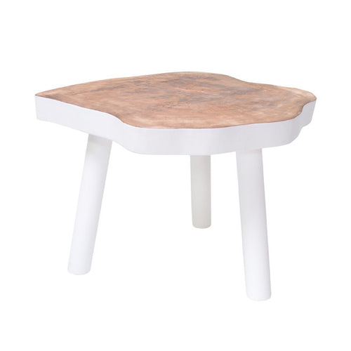natural wood tree table painted white large