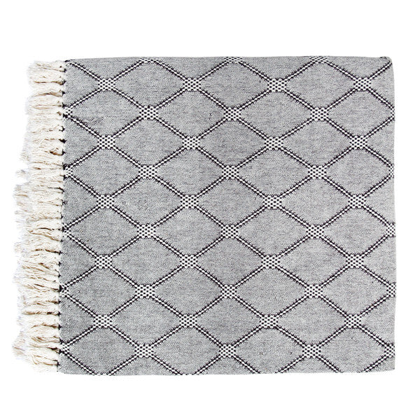 woven throw with diamonds pattern