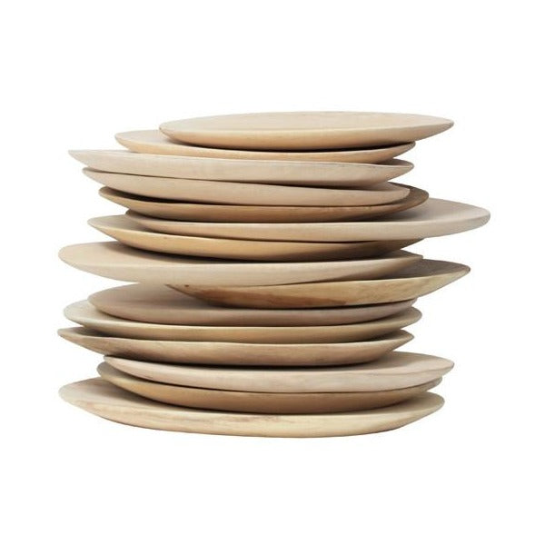 stack of plates made from mango wood