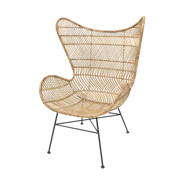 HK living rattan egg chair with bohemian braid natural