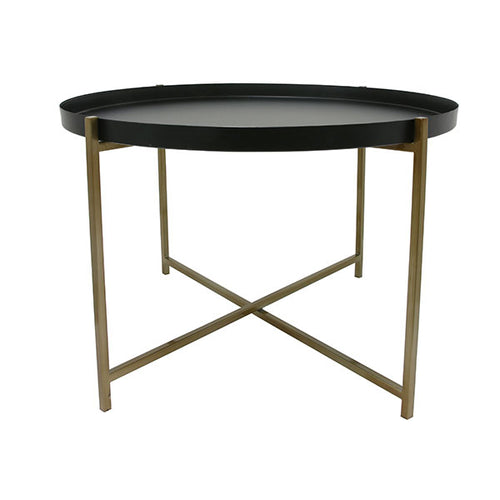 Brass and black metal coffee table with tray