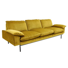 Velvet retro sofa color ochre 4 seater