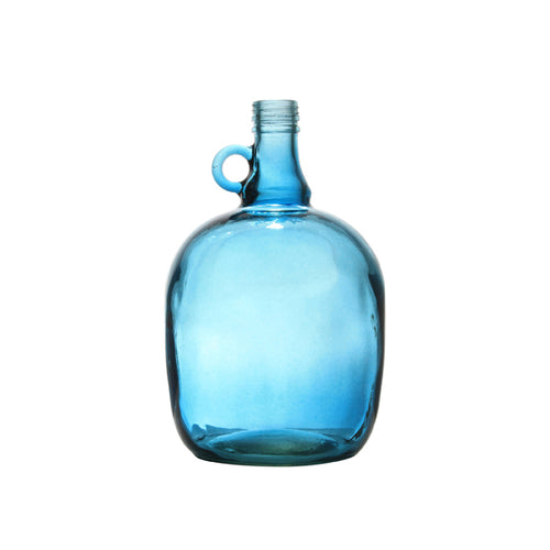Hand painted blue glass jar