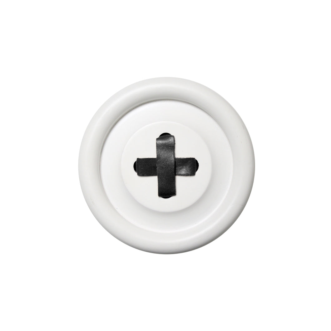 medium size white button hook with black leather stitch
