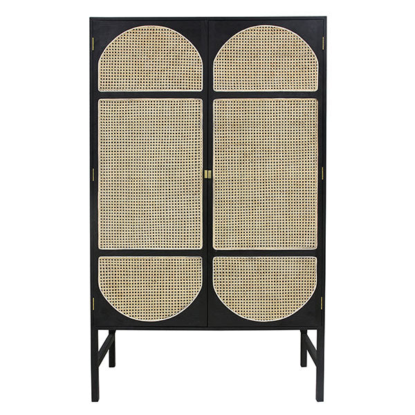 black wooden cabinet with cane waived door details