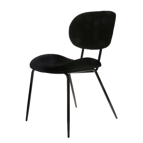black corduroy rib fabric chair with black legs