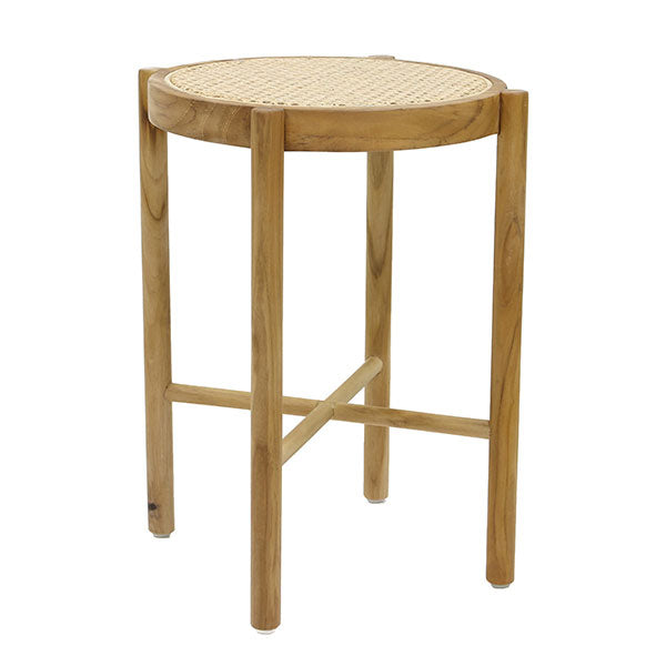 wooden stool with natural cane webbing