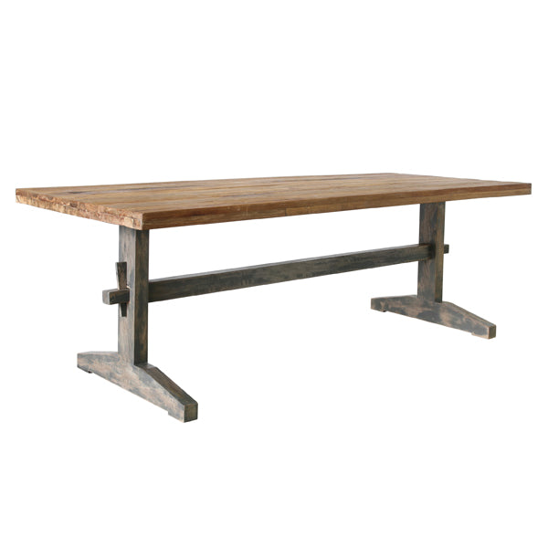 MTA2001 HK living USA natural and grey sanded reclaimed teak wooden dining table with grey leggs