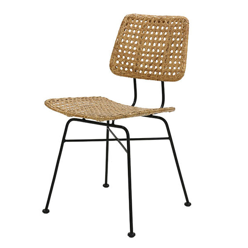 natural rattan desk chair with black metal legs