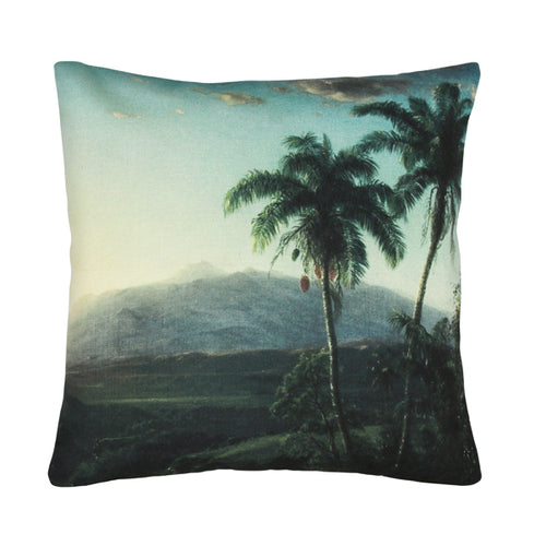 pillow or throw cushion with a printed palm tree scene