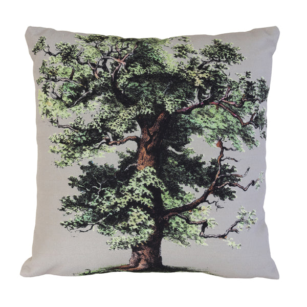 trow pillow with image of a big oak tree white and green