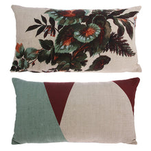printed cushion with abstract and flower print