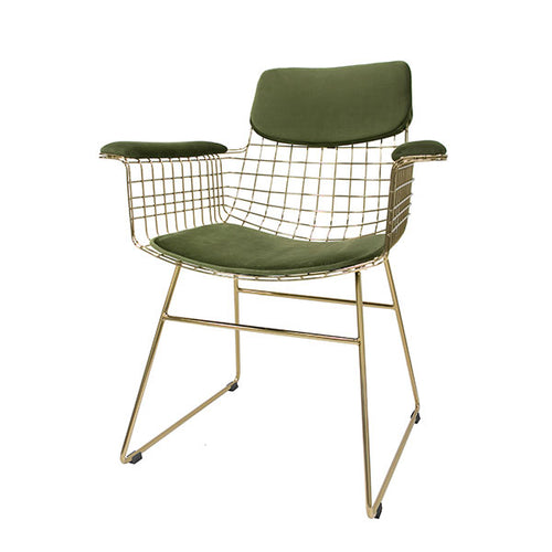 comfort kit velvet green for brass metal wire chair with arm rests
