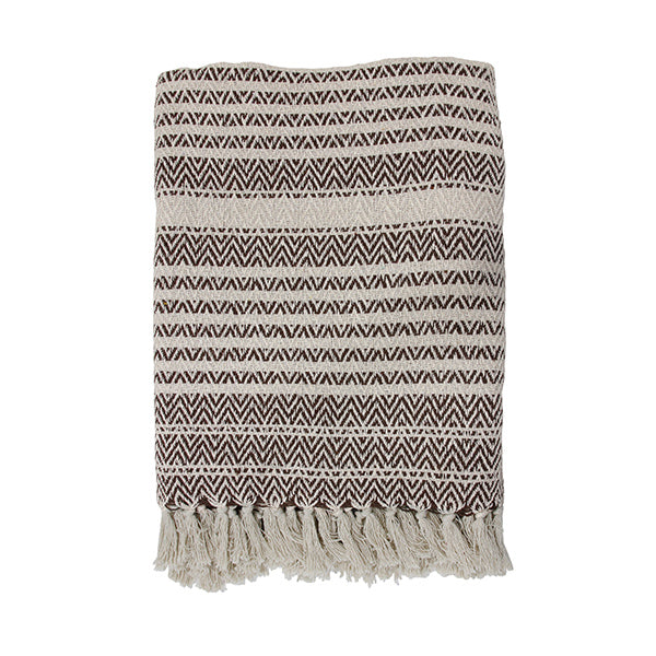 throw blanket with zigzag pattern and tassels in brown and naturel color