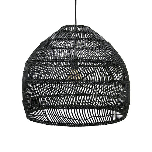 Black wicker hanging lamp - medium