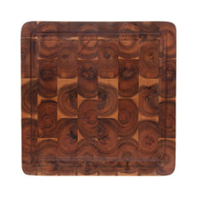 handmade square acacia wood cutting board in brown