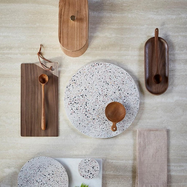 table top with walnut wood and ceramic accessories