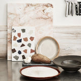 kitchen with terrazzo and marble confetti board