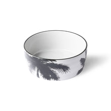 white ceramic bowl with handpainted black palm tree