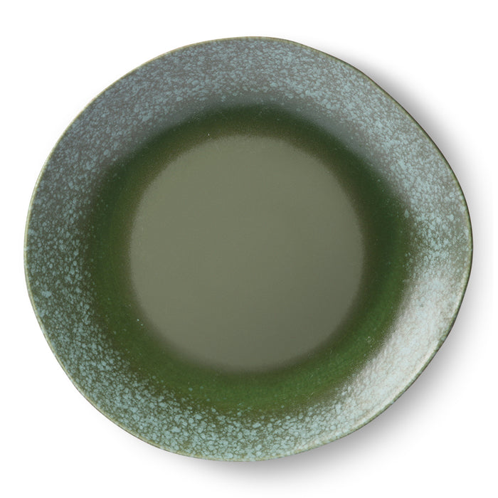 green dinner plate in 70's style