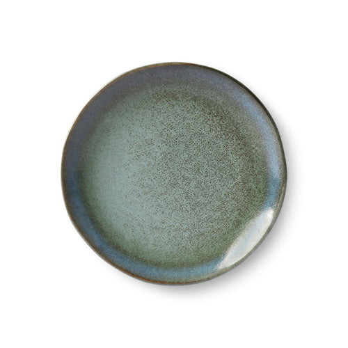 dessert or side plate in moss green with a 70's style finish