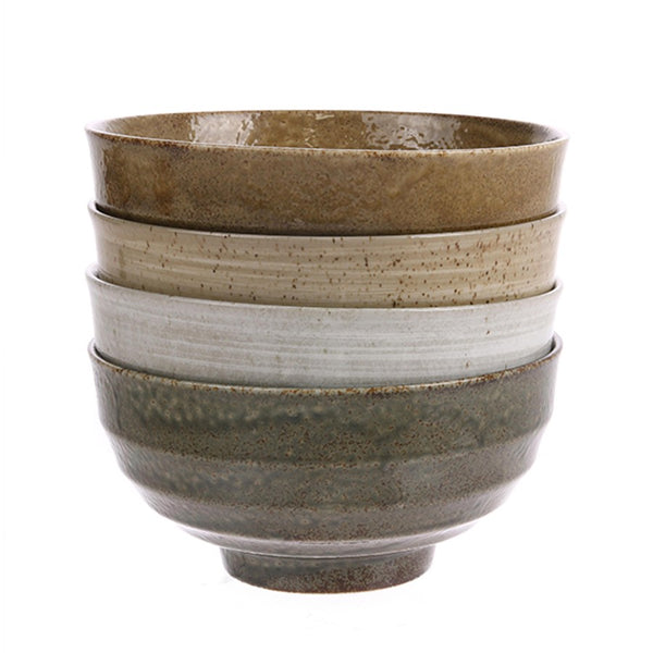 set of 4 noodle bowls in earth tones