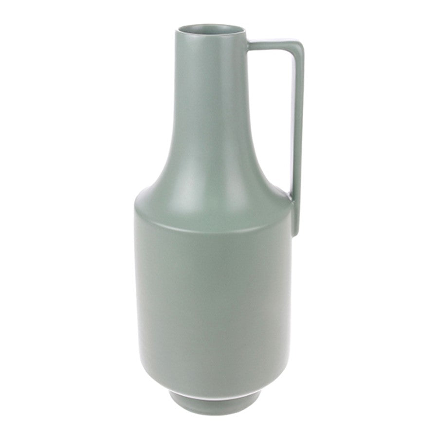 green ceramic vase with one handle