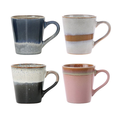 set of 4 espresso mugs in pastel colors 80 style