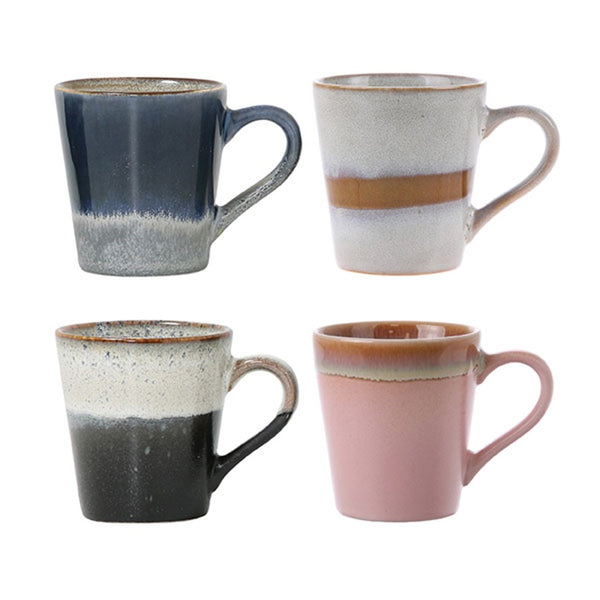 set of 4 espresso mugs in pastel colors 70 style