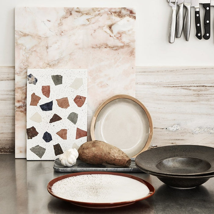 kitchen ware with a colored board and black kyoto style deep pasta plate by HK living USA