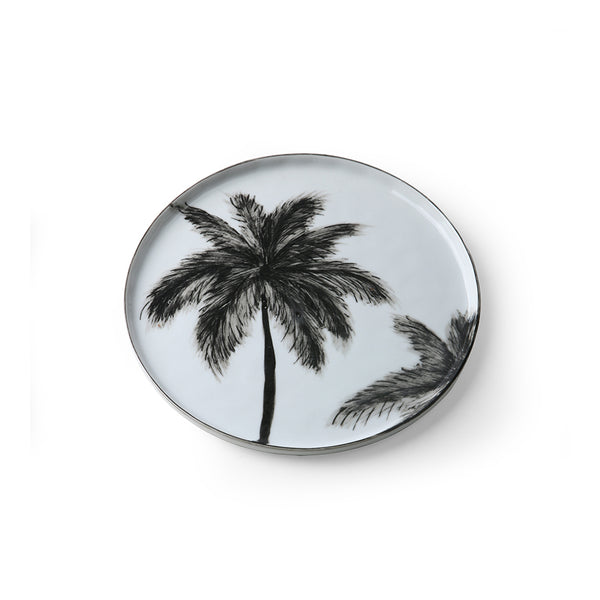 side plate with handpainted black palmtree