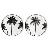 dinner plates with black palm tree motive