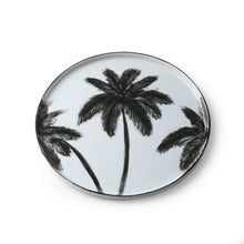 dinner plate with black palm trees