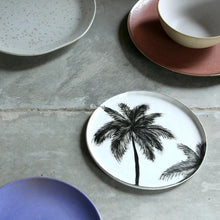 side plate with handpainted black palmtree at table