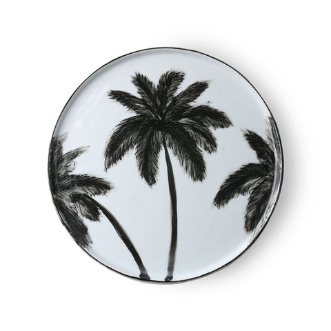 dinner plate with black palm tree