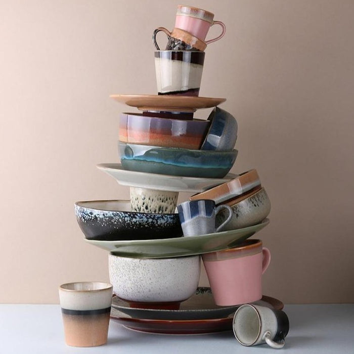 stack of new ceramics in pastelcolors