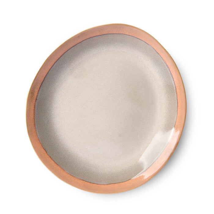 organic shaped side plate in earth tones