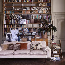 velvet couch in nude color in living room with large book shelf