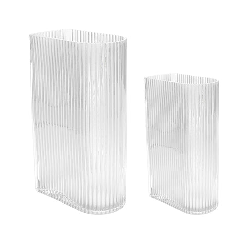 Set of 2 clear ribbed glass vases by HK living USA for flowers