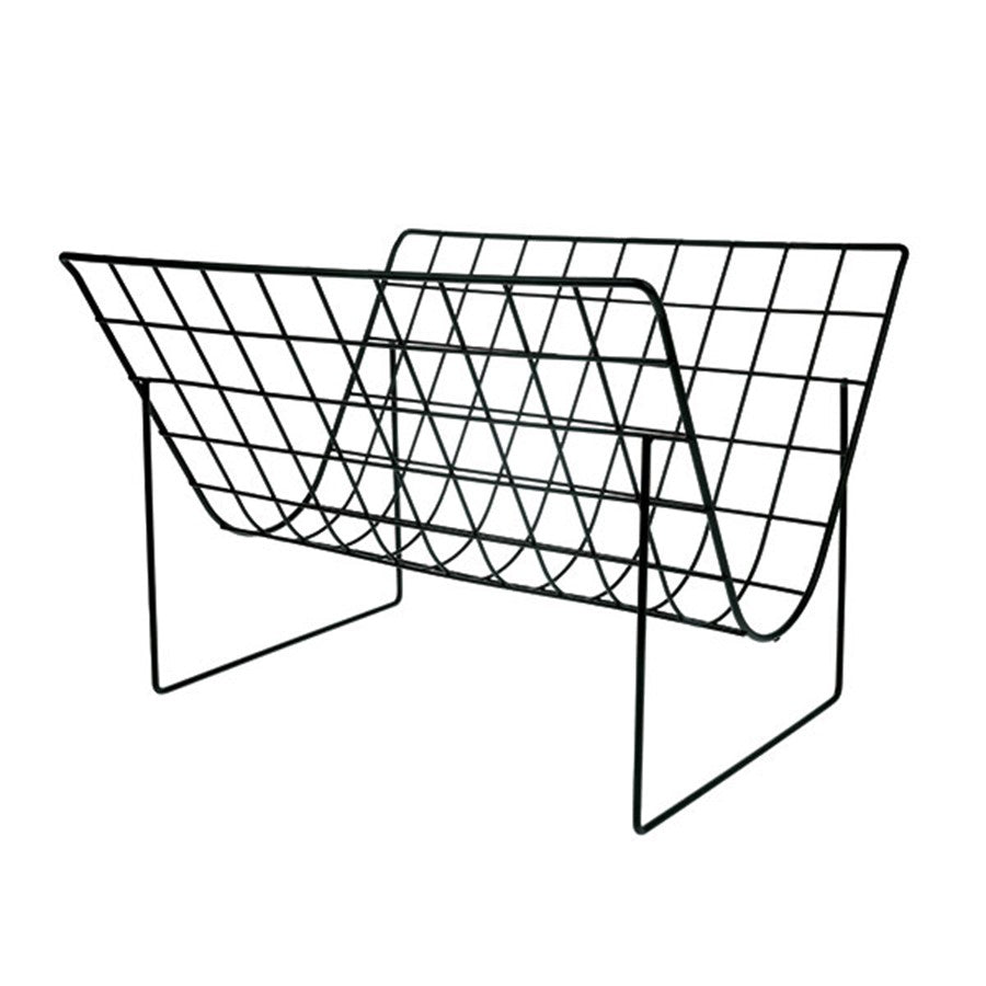 black metal wired magazine rack