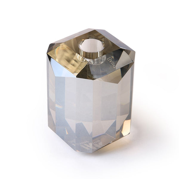 smoked gray crystal candle stick holder